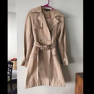 Express plaid trench coat